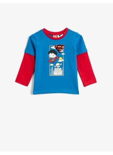 Koton Superman Lisansli Baskili Pullu Bisiklet Yaka Uzun Kollu Pamuklu Tisört Lacivert